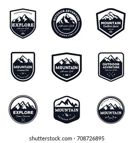 Set Of Mountain & Outdoor Adventure Emblem