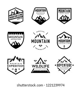Set of mountain and outdoor adventures logo vector.  vintage badge and logo design set.