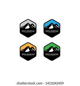 Set of mountain and outdoor adventures logo  mountain labels and design elements
