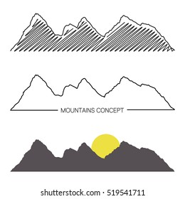 Set of mountain ridges on white background. Different variants of silhouette. Vector Illustration for design. Outdoor and travel concept.