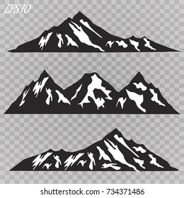 Set of mountain ridges silhouettes on white background. Outdoor and travel concept. Vector Illustration.