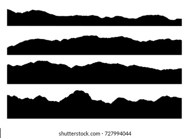 Set of mountain silhouettes isolated on the white background