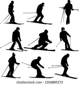 Set mountain skier speeding down slope sport silhouette