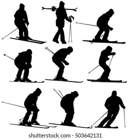 Set mountain skier speeding down slope. Vector sport silhouette.