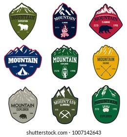 Set of mountain tourism, hiking emblems. Design element for logo, label, emblem, sign. Vector illustration