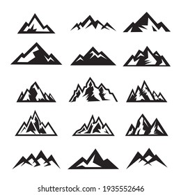 Set of mountain travel emblems. Camping outdoor adventure emblem, badge, and logo patch. Mountain tours, hiking. Jungle camp label in vintage and silhouette style