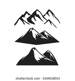 Set of mountain vector silhouettes icon shape in white and black color