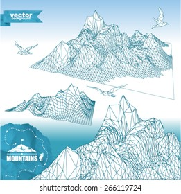 Set of  mountains 3D in polygonal style (illustration of a many triangles with birds and mountaineering route). Set of abstract high mountain.