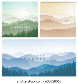 Set of Mountains Background with Different Colors.Mountains Landscape Vector Illustration.