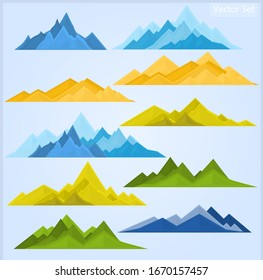 Set of mountains in different colors on light blue background
