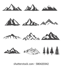 set of the mountains illustrations isolated on white background. Design elements for logo, label, emblem, sign, brand mark. Vector illustration.