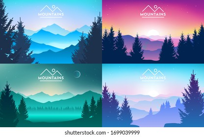 Set of mountains landscapes. Realistic forest, trees. sunrise, sunset, day, morning, night, mountain lake, fog on the rocks and in the valley. Hiking adventure background. Vector illustration
