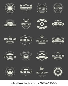 Set Mountains Logos, Badges and Labels Vintage Style.  Design elements retro vector illustration.