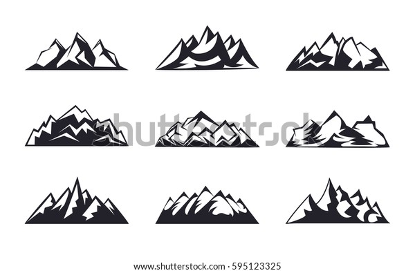 Set Mountains peaks, ski logo design elements icon collection isolated on white background. Vector Illustration accident investigation, hiking, rock climbing camping traveling in the mountains.