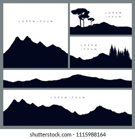 Set of mountains silhouette backgrounds. Vector templates for business cards, greetings, prints, web design, invitations and banners. Stylish cards in outdoor style. Travelling and environment concept