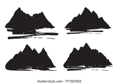 Set of mountains silhouettes with brush strokes. Outdoor design elements on white background. Vector illustration.