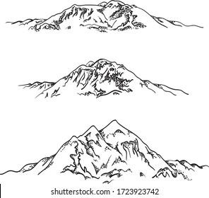 Set mountains sketch. Hand drawn vector illustration. Mountain travel, highlands range. Dot and line art. Rocky peaks. Landscape silhouette