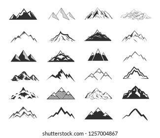Set of mountais shapes isolated on white background.Vector illustration.