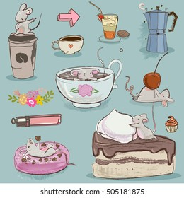 set mouse with desserts and tea