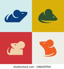 Set of Mouse Logo. Icon design. Template elements