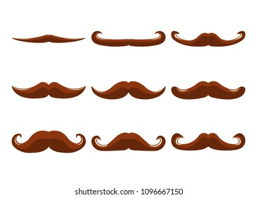 Set of Moustache Icon and Label. Father's Day. Flat style. Vector illustration.