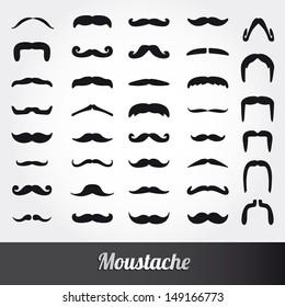 Set of moustache vector