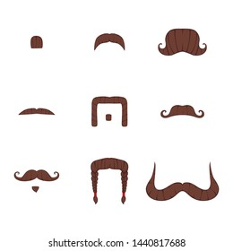 Set of moustache. Vector illustration on isolated background