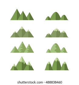 set of moutain hills , cartoon vector