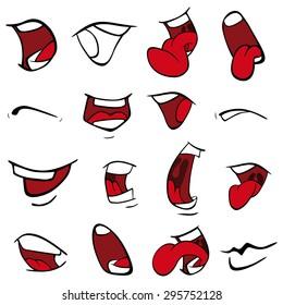 Set of mouths cartoon