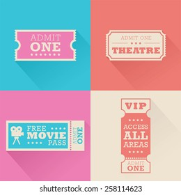 A set of movie admission tickets