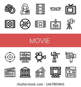 Set of movie icons such as Carpet, Actress, Compact disc, Film, d glasses, Wedding photo, Old tv, Studio lighting, Focus, Clapperboard, Sound editing, Theatre, Movie camera , movie