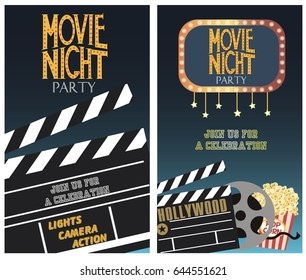 Hollywood movies images stock photos vectors shutterstock set of movie party invitation or greeting cards vector illustration stopboris Gallery