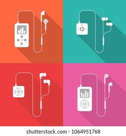 Set of mp3 players flat icons with long shadow isolated on colorful background. Simple mp3 players with earphones in flat style. Vector sign symbol.