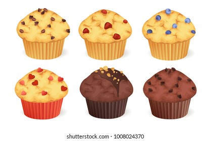 Set of muffins with different toppings. Vector illustration.