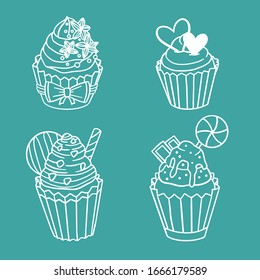 A set of muffins with a variety of fillings and decorations for the holiday. Hand drawn coloring with cupcakes, cakes, candies in doodle style isolated on white background.