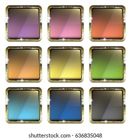 Set of multi color backgrounds with a golden frame, with space for your text. Vector illustration.