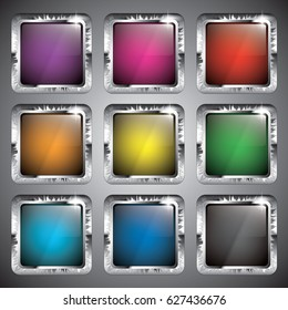 Set of multi color square backgrounds with a silver frame, with space for your text. Vector illustration.