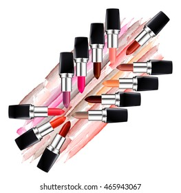 Set of multi colored lipsticks and lipstick smears isolated on white background. Beauty and cosmetics background. Vector illustration