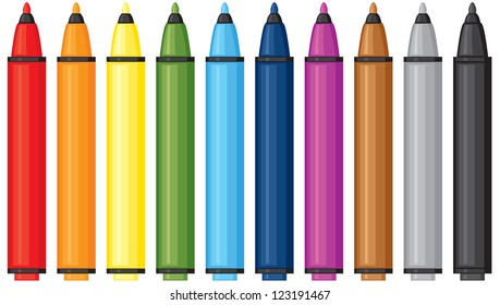 Set of multicolor felt-tip pens
