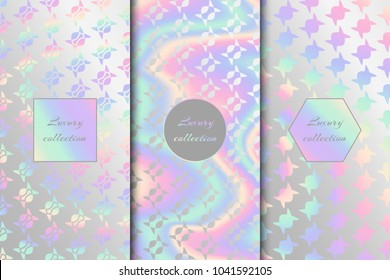 A set of multicolor holographic backgrounds for brightly designed projects. Rainbow vector illustration with neon foil texture