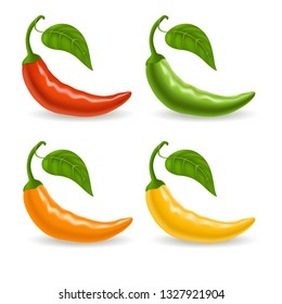 Set with multicolor peppers isolated on white background, spicy vegetables, delicious dietary product. Vector illustration