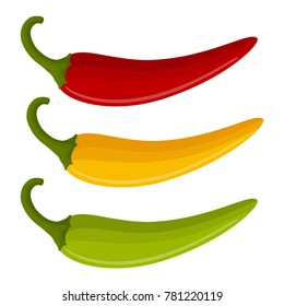 set with multicolor peppers isolated on white background, spicy vegetables, delicious dietary product