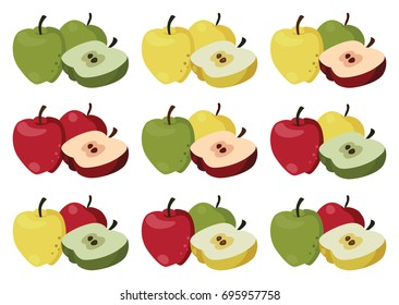 Set of multi-colored apples. For your convenience, each significant element is in a separate layer. Eps 10
