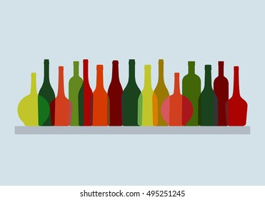 Set Of Multicolored Bottles Silhouettes Vector Illustration