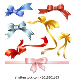 Set of multicolored bows with ribbons on a white background. Vector.