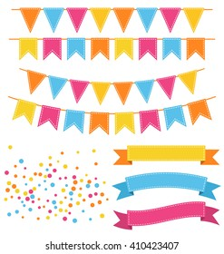 Set of Multicolored Buntings Garlands Flags Confetti and Ribbons Isolated on White Background