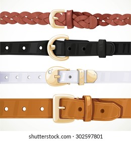 Set of multicolored buttoned to buckle belts isolated on white background
