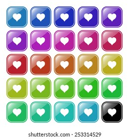 Set of multicolored buttons for the site. Buttons for mobile applications. heart,  vector illustration, EPS 10