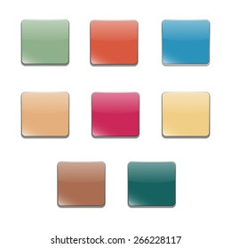 Set of multicolored buttons, square shape and volumetric style, vector illustration.