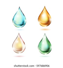 Set of multicolored drops with shadows on white background. Raster version. Vector template